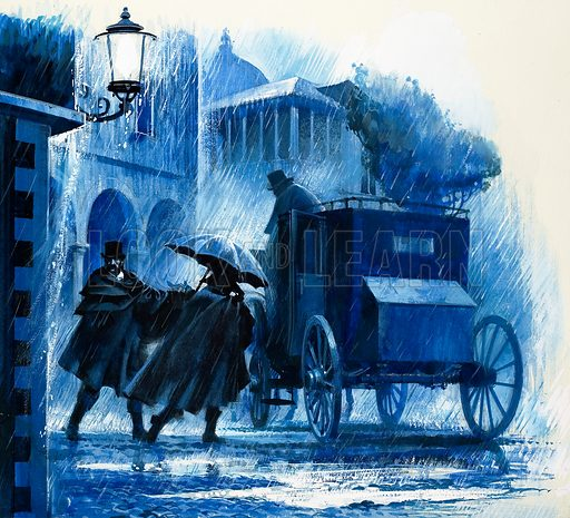 Hansom cab in the rain. From Look and Learn (date unknown). Original artwork.