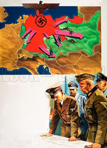 Hitler's invasion of Europe. From Look and Learn (artwork dated 21 June). Original artwork.