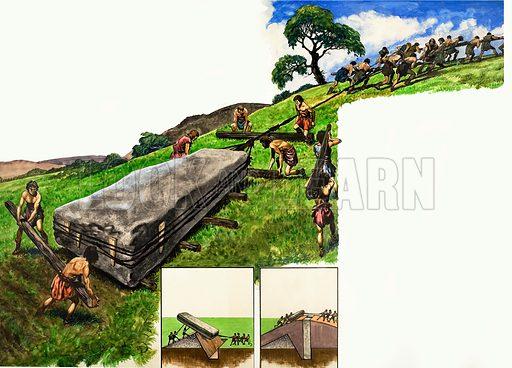 Building Stonehenge. Original artwork from Treasure no. 7 (2 March 1963).
