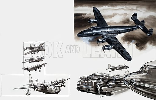 Aircraft montage. From Look and Learn (artwork dated 29 May). Original artwork.
