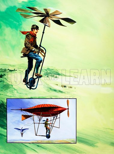 Early attempts at powered flight. From Speed and Power no. 1 (22–29 March 1974). Original artwork.