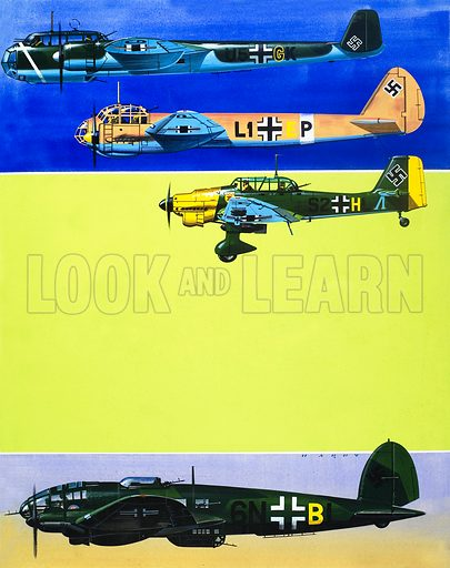 Into the Blue: German Aircraft of World War II. From Look and Learn no. 361 (14 December 1968). Original artwork.