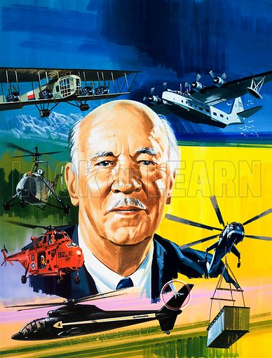 Meet 'Mr Helicopter'. Cover from Look and Learn no. 503 (4 September 1971). Original artwork.