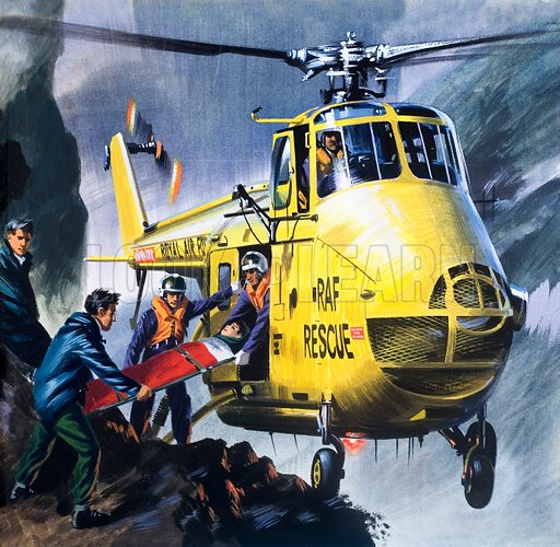 Into the Blue: Search and Rescue!. From Look and Learn no. 352 (12 October 1968). Original artwork.
