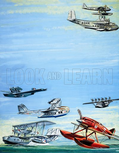 Seaplane montage. From Look and Learn (artwork dated 1 June). Original artwork.