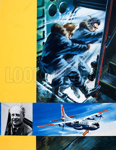 Into the Blue: Courage Over Canada. From Look and Learn no. 365 (11 January 1969). Original artwork.