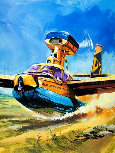 Landing on a 'Cushion'. From cover for Look and Learn no. 523 (22 January 1972). Original artwork loaned for scanning by the Illustration Art Gallery.