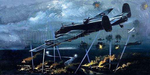 Halifax Bomber over Germany. Original artwork (dated 3/12/66).