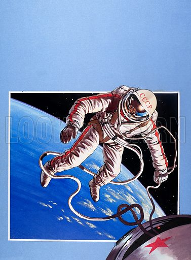 Famous Firsts: Space-Walk! From Look and Learn no. 337 (29 June 1968). Original artwork.