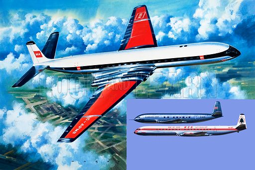 Unidentified passenger aircraft. Original artwork (dated 10 June) loaned for scanning by the Illustration Art Gallery.