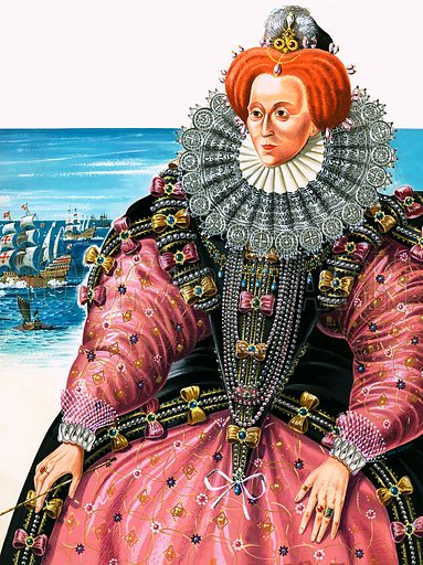 Queen Elizabeth I. Original artwork for cover of Look and Learn issue no 139.
