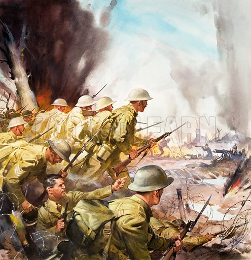 The Slaughter on the Somme. Original artwork from cover of Look and Learn no. 623 (22 December 1973).