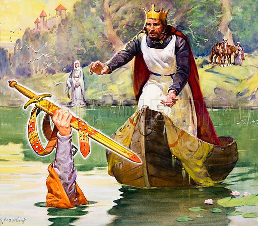 The Lady of the Lake giving the sword Excalibur to King Arthur. Original artwork for cover of Look and Learn no. 325 (6 April 1968).