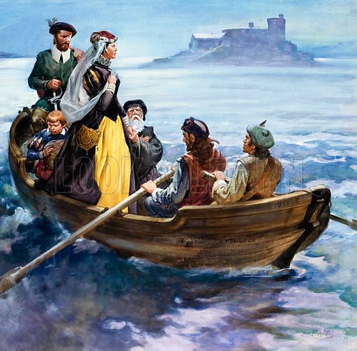 picture, Mary, Queen of Scots, escapes her prison at Loch Leven