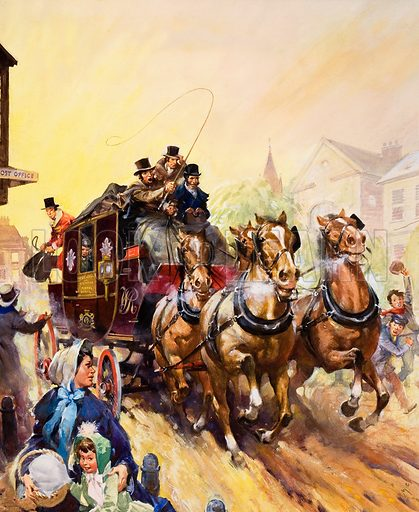 Delivering the post and passengers by coach. Original artwork.