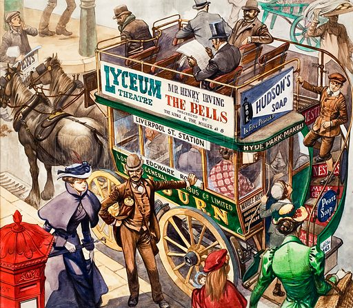 Once Upon a Time... Riding the bus one hundred years ago. Original artwork from Treasure no. 265 (10 February 1968).