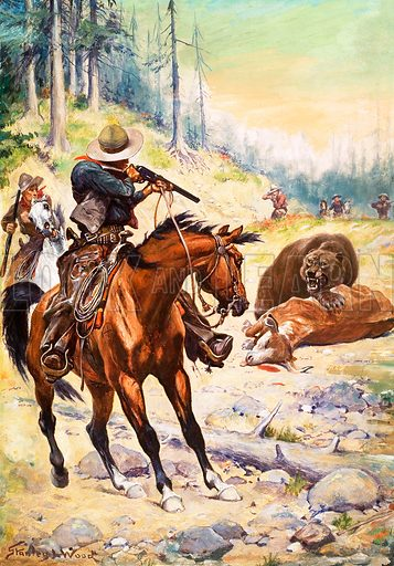 Shooting a bear. American cowboys surround a bear crouched over the body of a cow. Original artwork.