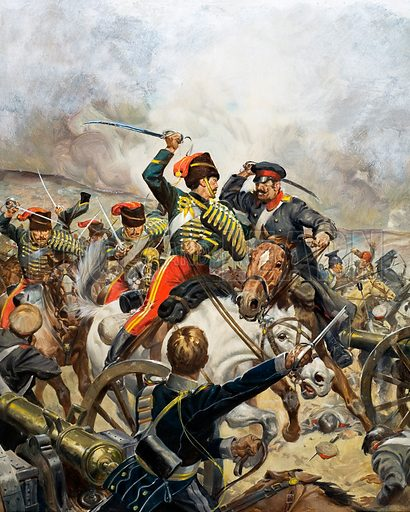 Charge of the Light Brigade at the Battle of Balaclava, Crimean War, 1854. Original artwork for cover of Look and Learn no. 490 (5 June 1971).