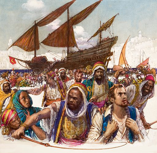 Captives of arabs led in chains from the docks, with dhow in background. Original artwork related to A000575.