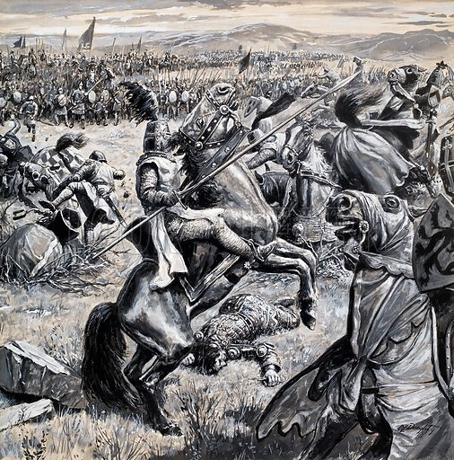 Robert the Bruce and the Scots defeating Edward II's English army at the Battle of Bannockburn, Scotland, 1314. Original artwork from Look and Learn no. 754 (26 June 1976).