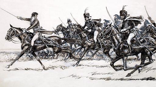 Cavalry charge. Original artwork.
