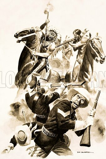 Blood on the Prairie. Original artwork for advert for forthcoming strip from Ranger (13 November 1965).