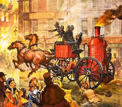 Famous Partnerships: The Fire King. James Compton Merryweather, whose family helped develop fire-fighting equipment, and his fire steam-pump powered fire engine. Original artwork from Look and Learn no. 332 (25 May 1968).