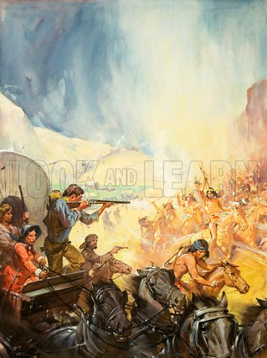 Pioneer wagon train bound for the West fighting off an attack by Native Americans, 19th Century. Original artwork from cover of Look and Learn no. 782 (8 January 1977).