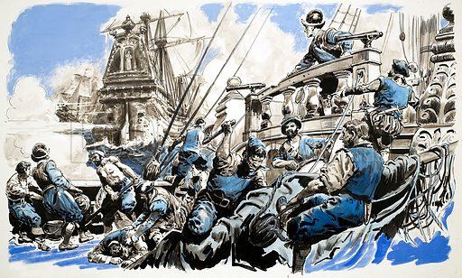 Unidentified sea battle. Original artwork (dated 8/1/65).