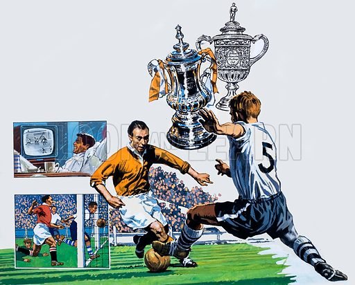 In the News: The Long Road to Wembley. Original artwork from Look and Learn no. 983 (10 January 1981).
