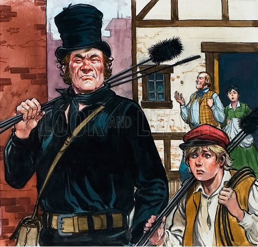 picture, chimney sweep and child apprentice