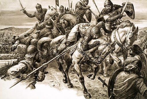 William Wallace and the Scottish army defeating the English at the Battle of Stirling Bridge, Scotland, 1297. Original artwork from Look and Learn no. 684 (22 February 1975).