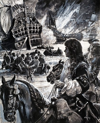 Counterplot: Britain in Peril. Original artwork from Look and Learn no. 443 (11 July 1970).James Stuart could only watch helplessly as the boats meant for the invasion of England burned.