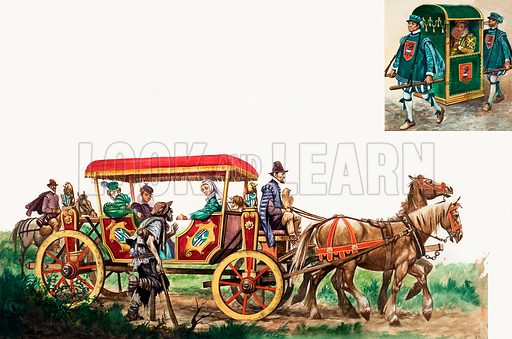 Public Transport: horse, carriage and sedan chair. Original artwork from Treasure Annual 1971.