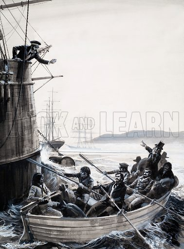 Unidentified sailors (mutineers?) in rowing boat with Captain shaking fist. Original artwork (dated 1976).