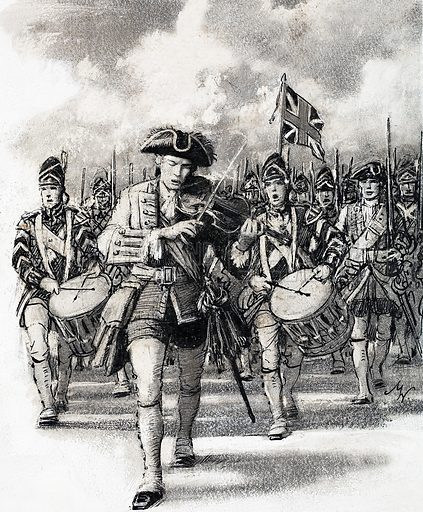 Marching into battle. Original artwork from Look and Learn (dated August 1967).