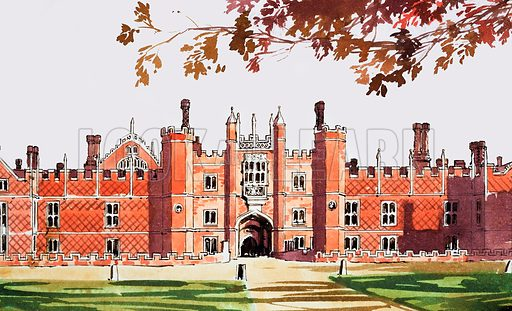 Hampton Court. Panel from cover of Look and Learn no. 196 (16 October 1965).