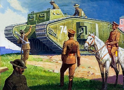 WW1 tank, picture, image, illustration