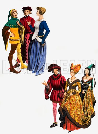 Costumes from the Middle Ages. Original artwork from Treasure Annual 1970.