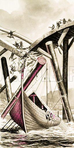 Unidentified Viking longboat destroying a bridge. Original artwork.