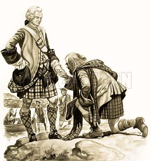 The Wonderful Story of Britain: Bonnie Prince Charlie. Bonnie Prince Charlie is welcomed by a Highland clansman. Original artwork from Treasure no. 139 (11 September 1965).