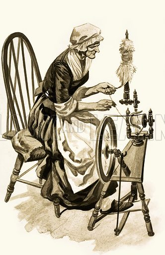 The Wonderful Story of Britain: The New Spinning Machine. A woman works at her spindle on the spinning-wheel. Original artwork from Treasure no. 150 (27 November 1965).