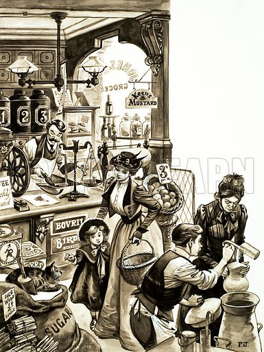 Shopping in Edwardian times. Original artwork from Treasure.