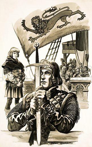 Knight and sword. Original artwork.