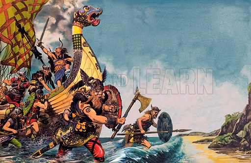 Vikings landing on a beach on a raid.