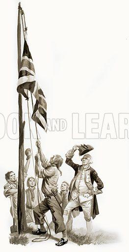 The Wonderful Story of Britain: Exploring the South Seas. Captain Cook raises the flag in Australia. Original artwork from Treasure no. 148 (13 November 1965).