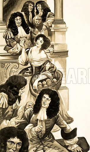 The Wonderful Story of Britain: The Grand New Theatres. King Charles in the royal box at the theatre talking to the orange seller, Nell Gwynn. Original artwork from Treasure no. 124 (29 May 1965). Reused in Look and Learn no. 1011 (25 July 1981).