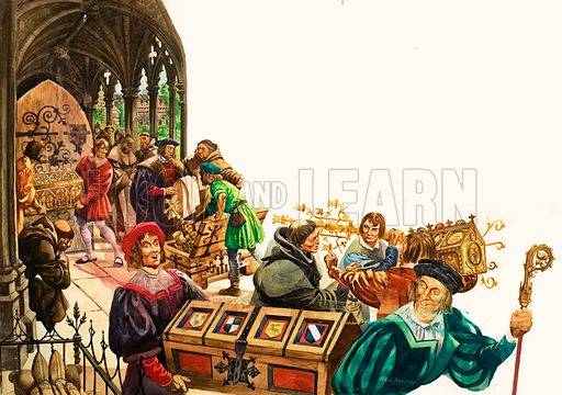 The Wonderful Story of Britain: King Henry and the Monasteries. Greedy courtiers' men carry away gold plate and jewels from a monastery. Original artwork from Treasure no. 87 (12 September 1964).