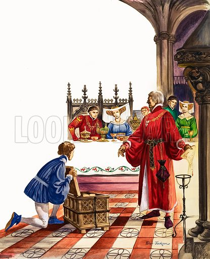 The Wonderful Story of Britain: The Real Dick Whittington. At the banquet he gave for King Henry the Fifth , Dick Whittington burns the bonds of debts owed by the King. Original artwork from Treasure no. 68 (2 May 1964).