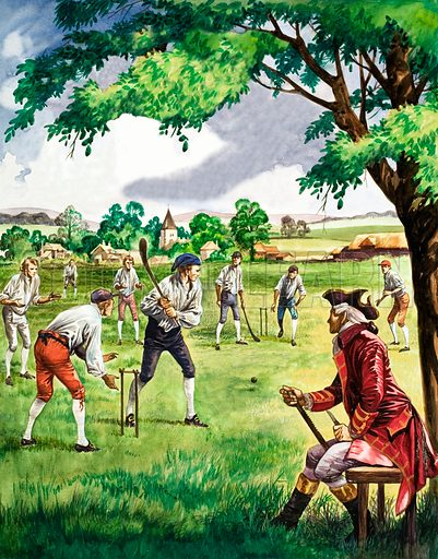 Early cricket match played by villagers with curved bats and only two stumps.